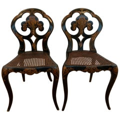 Circa 1870's Pair of English Chinoiserie Side Chairs With Caned Seats