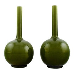 Pair of English Narrow Necked Vases in Green Glazed Ceramics, 1920s-1930s