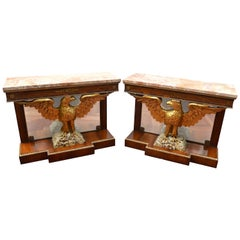 Pair of  Regency Revival Mahogany and Giltwood Eagle Pier Consoles