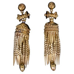 Pair of Etruscan Style Pendant Earrings, circa 1870
