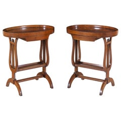 Pair of European Classical Style Cherry Work Tables, Late 19th Century