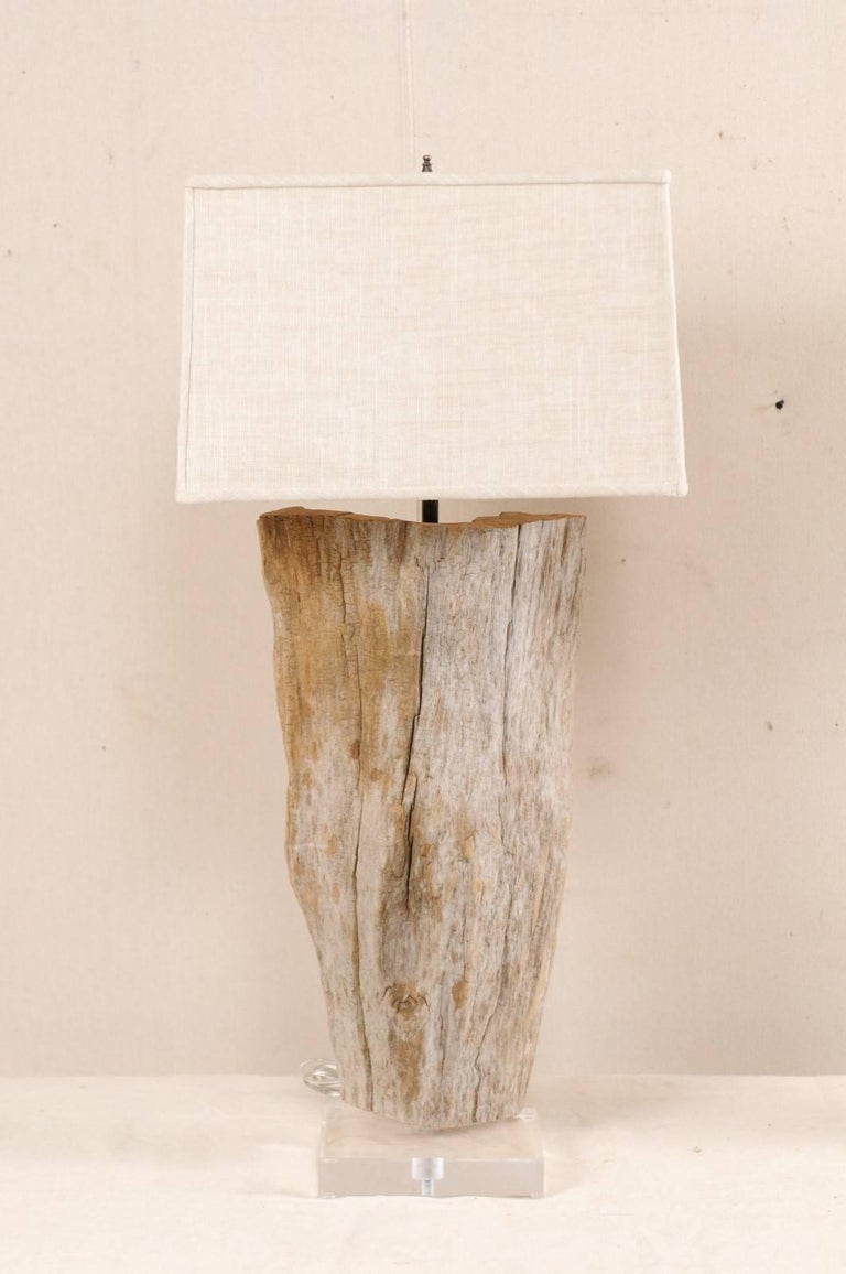 Pair of european natural driftwood finished table lamps with custom pair of european natural driftwood finished table lamps with custom shades in good condition for sale aloadofball Images