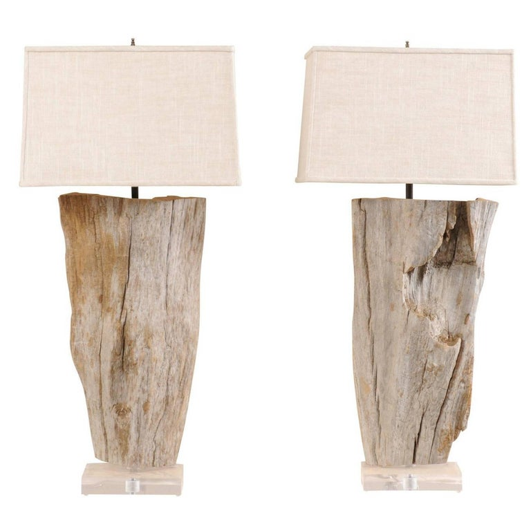 Pair of European Natural Driftwood Finished Table Lamps with Custom Shades