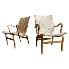 """Pair of """"Eva"""" Chairs by Bruno Mathsson for DUX"""