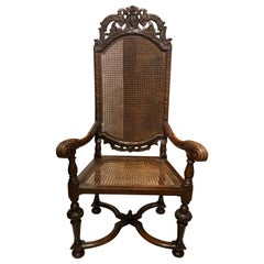 Pair of Extremely Rare and Fine William and Mary Walnut High Back Chairs