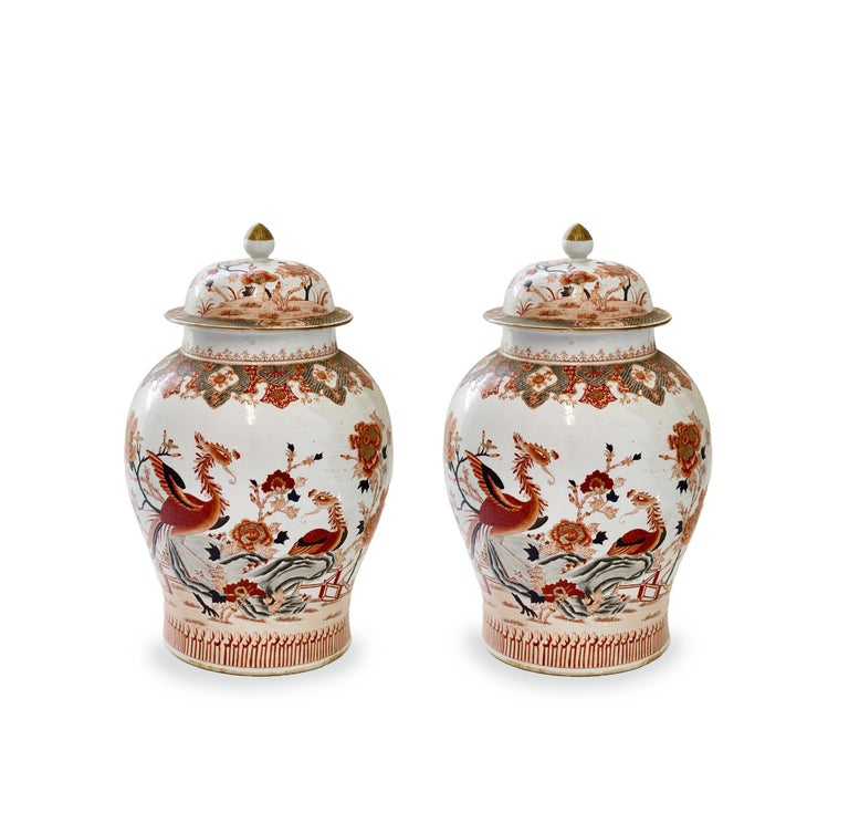 Fine painted porcelain vases with birds and flowers bloom decoration. The bottom of the porcelain is 10.5in/D.