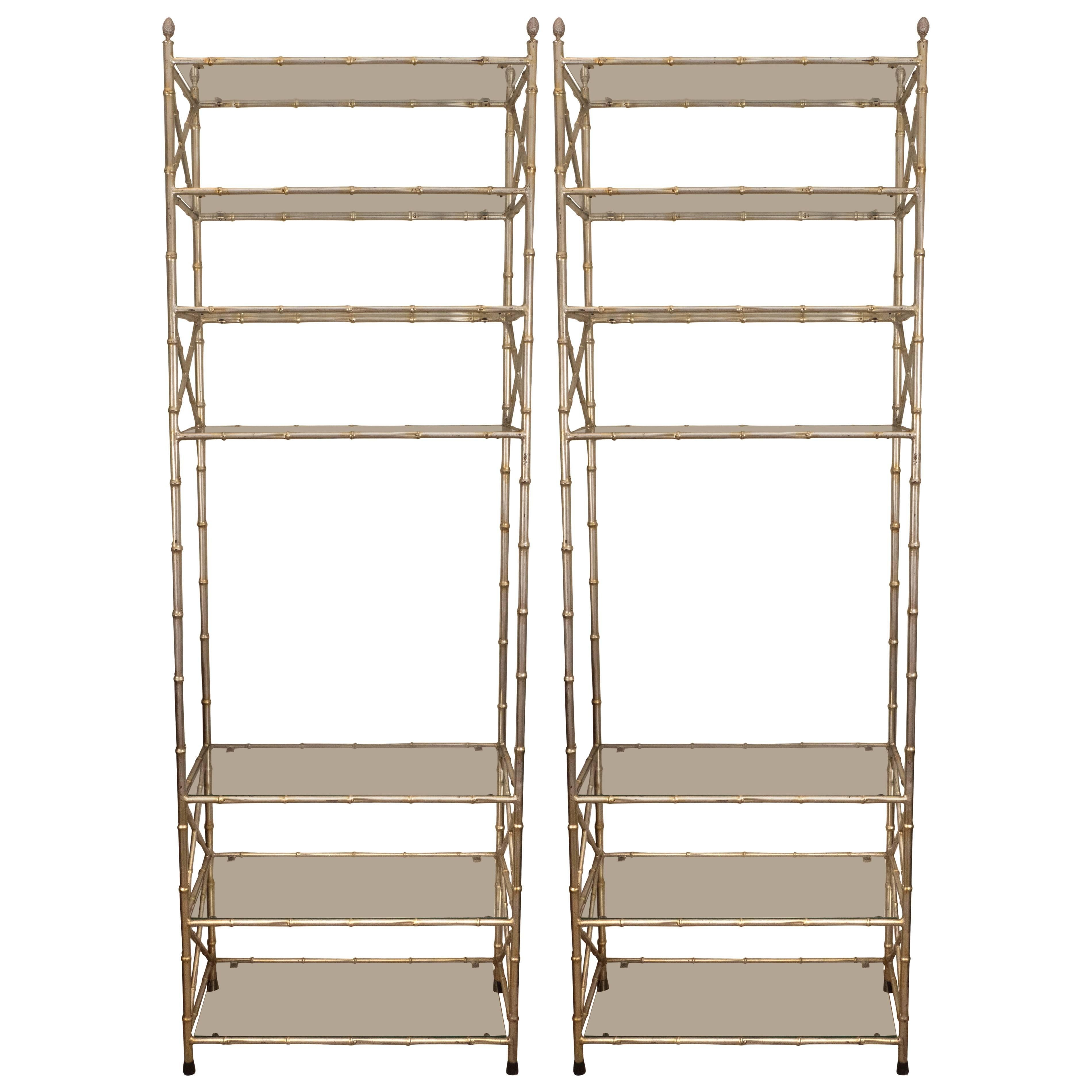 Pair of Faux Bamboo Silvered Ètagerès