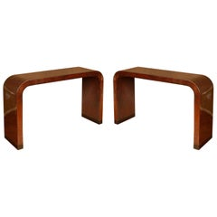 Pair of Faux Tortoise Waterfall Karl Springer Style Consoles