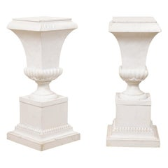 Pair of Fiberglass Urn-Shaped Pedestals, Standing