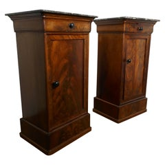 Pair of Figured Mahogany Bedside Cupboards