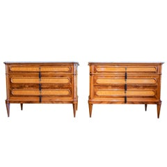 Pair of Fine Italian Louis XVI Olivewood and Walnut Marble-Top Chests