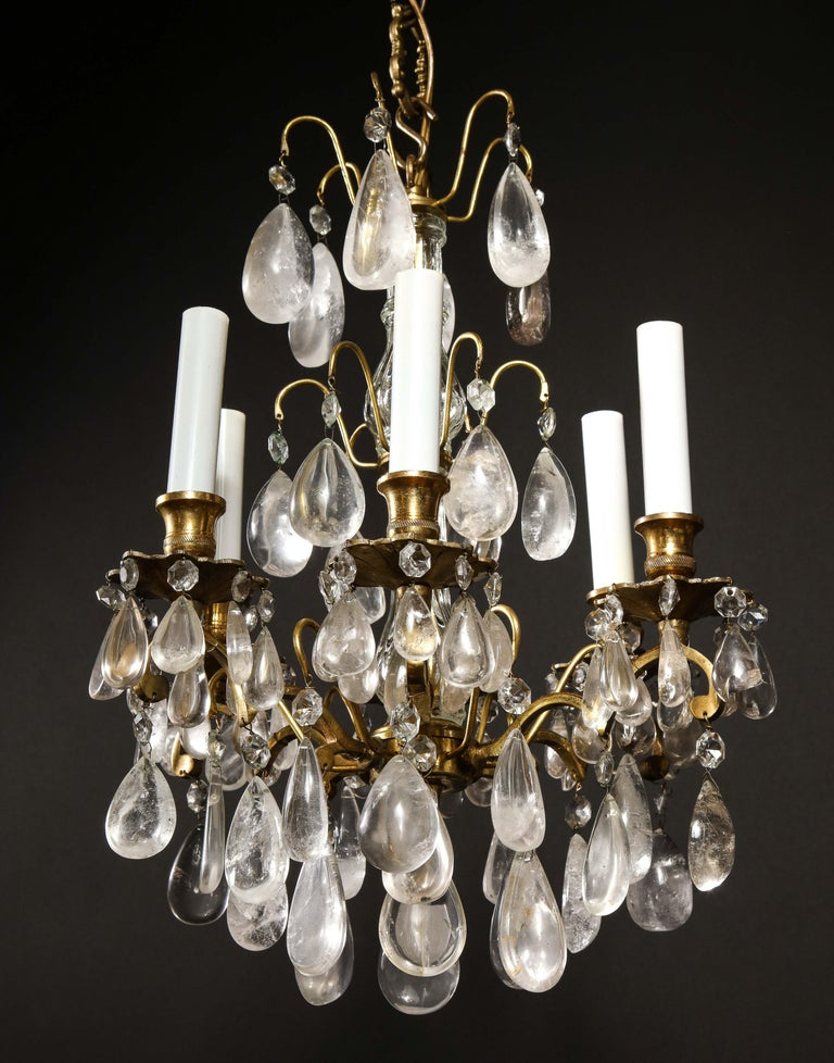 Pair of Fine Continental Louis XVI Style Rock Crystal Chandeliers For Sale 4