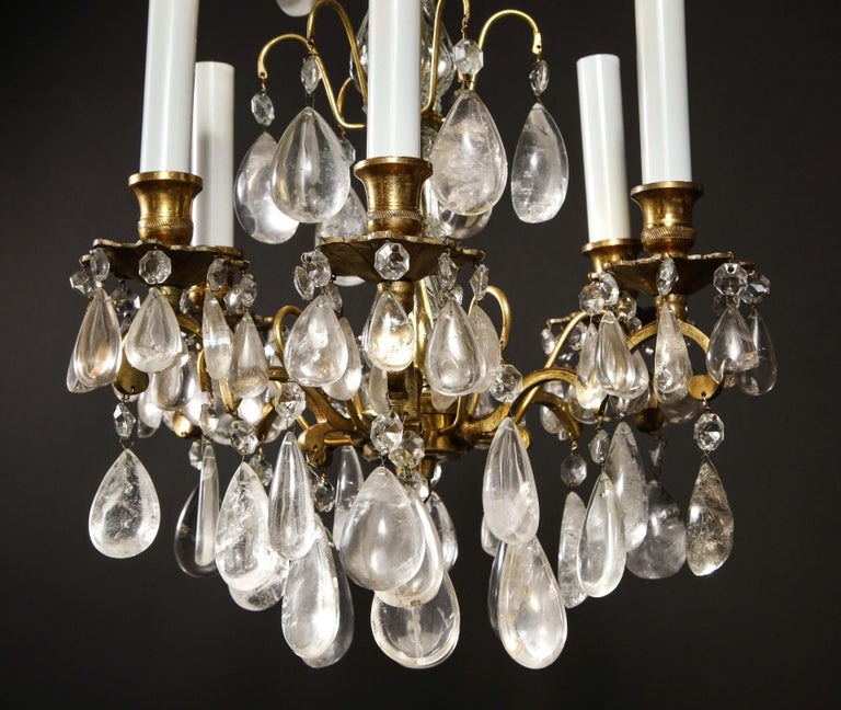 Pair of Fine Continental Louis XVI Style Rock Crystal Chandeliers For Sale 5