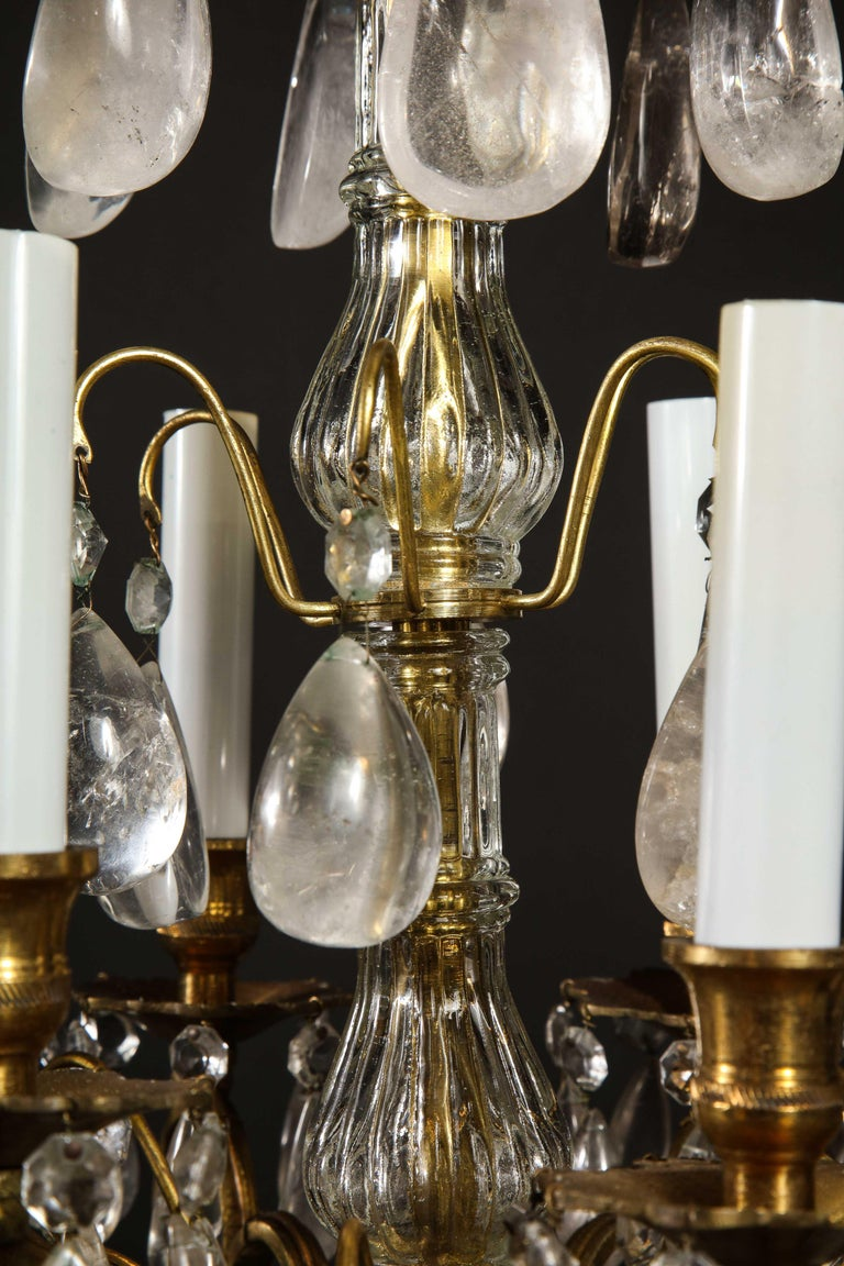 Pair of Fine Continental Louis XVI Style Rock Crystal Chandeliers For Sale 7