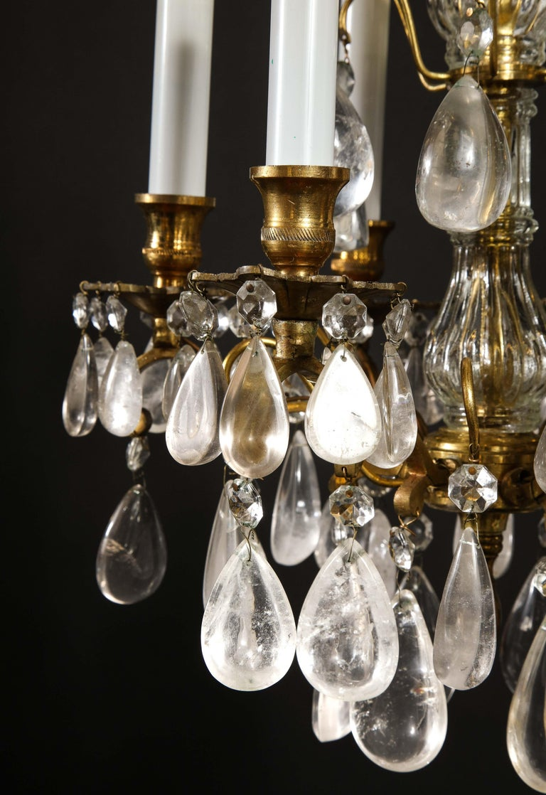 Pair of Fine Continental Louis XVI Style Rock Crystal Chandeliers For Sale 8