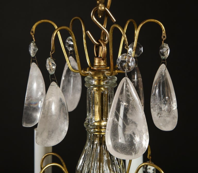 Pair of Fine Continental Louis XVI Style Rock Crystal Chandeliers For Sale 9