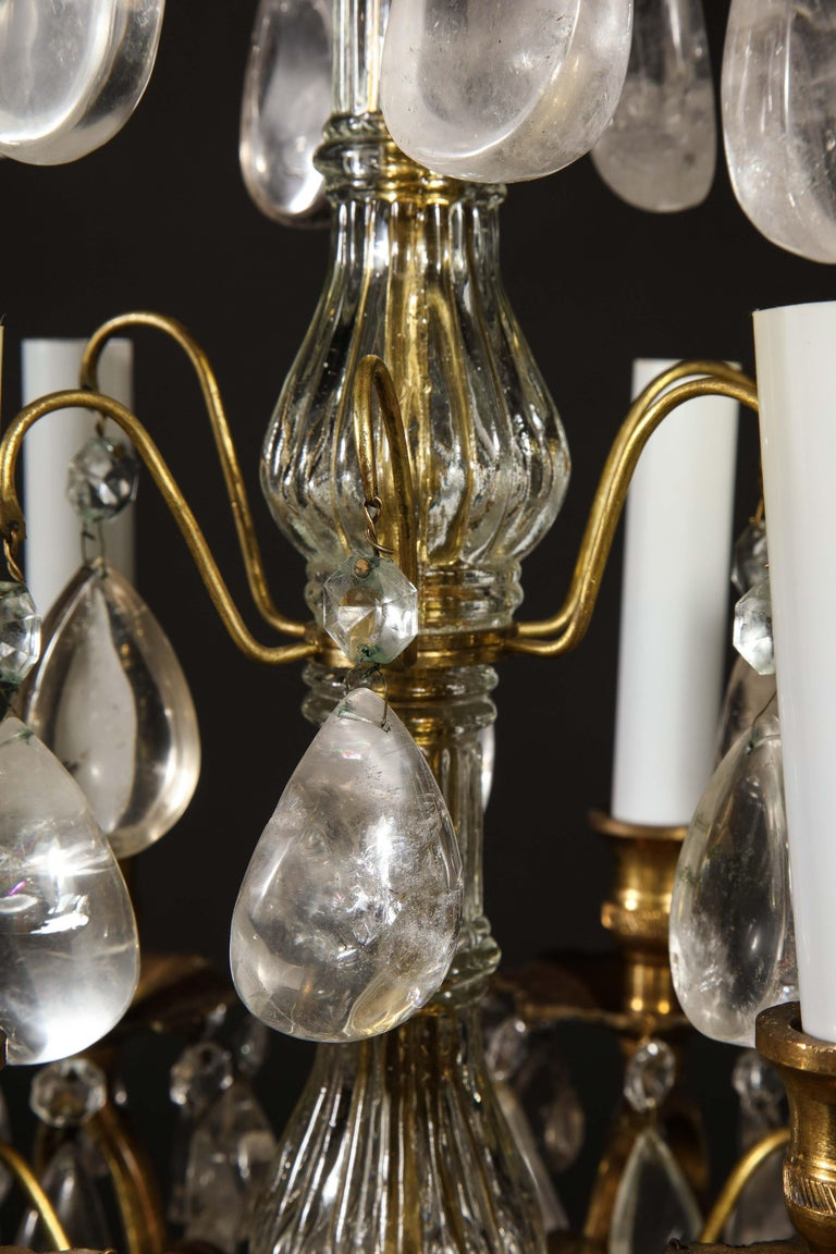 Pair of Fine Continental Louis XVI Style Rock Crystal Chandeliers For Sale 10