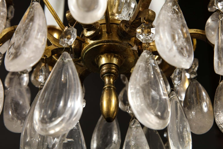 Pair of Fine Continental Louis XVI Style Rock Crystal Chandeliers For Sale 11