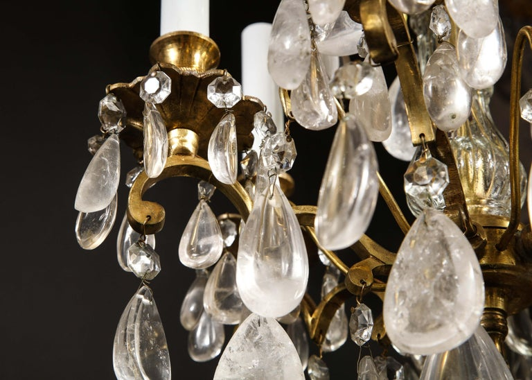 Pair of Fine Continental Louis XVI Style Rock Crystal Chandeliers For Sale 12