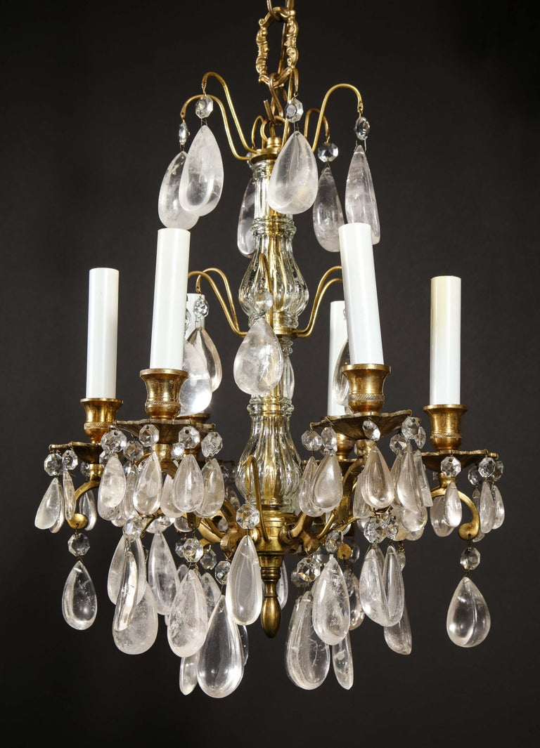 Pair of Fine Continental Louis XVI Style Rock Crystal Chandeliers For Sale 13