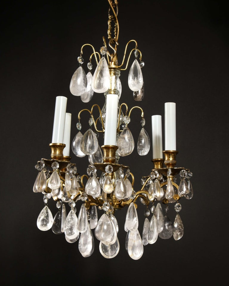 Unknown Pair of Fine Continental Louis XVI Style Rock Crystal Chandeliers For Sale