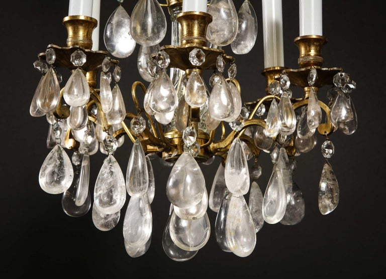 Pair of Fine Continental Louis XVI Style Rock Crystal Chandeliers In Good Condition For Sale In New York, NY
