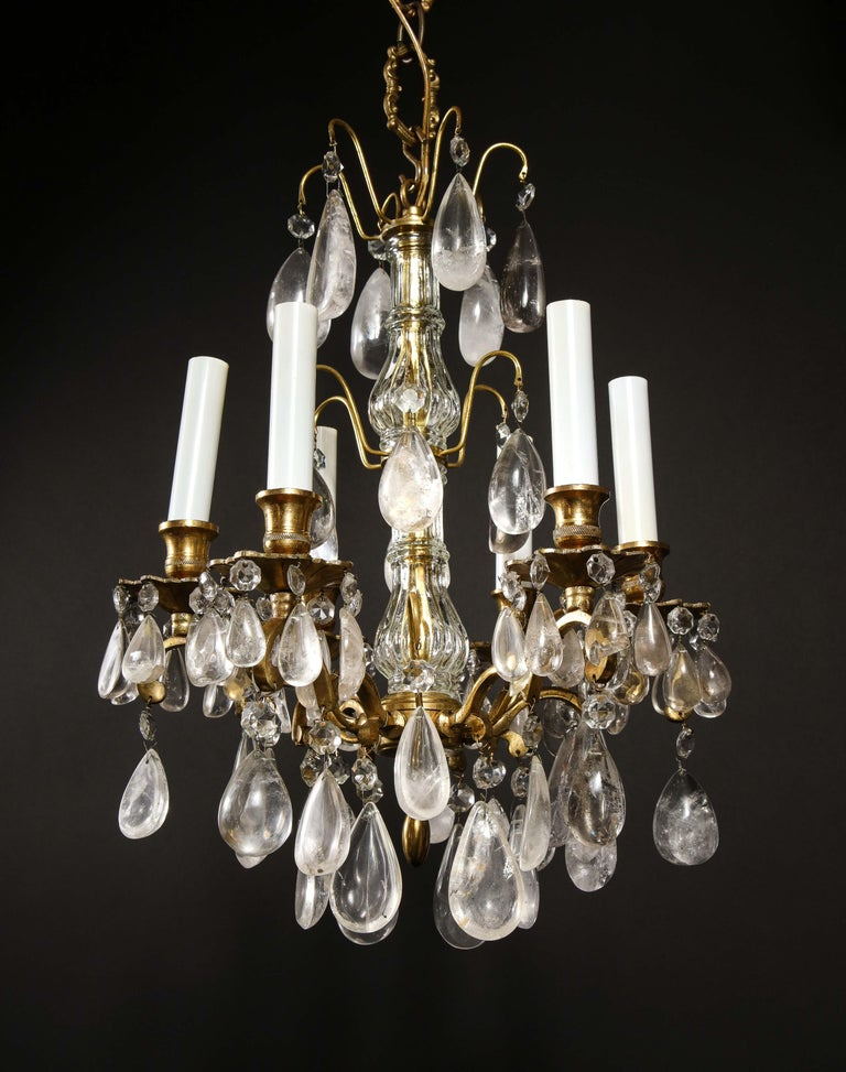 Hand-Crafted Pair of Fine Continental Louis XVI Style Rock Crystal Chandeliers For Sale