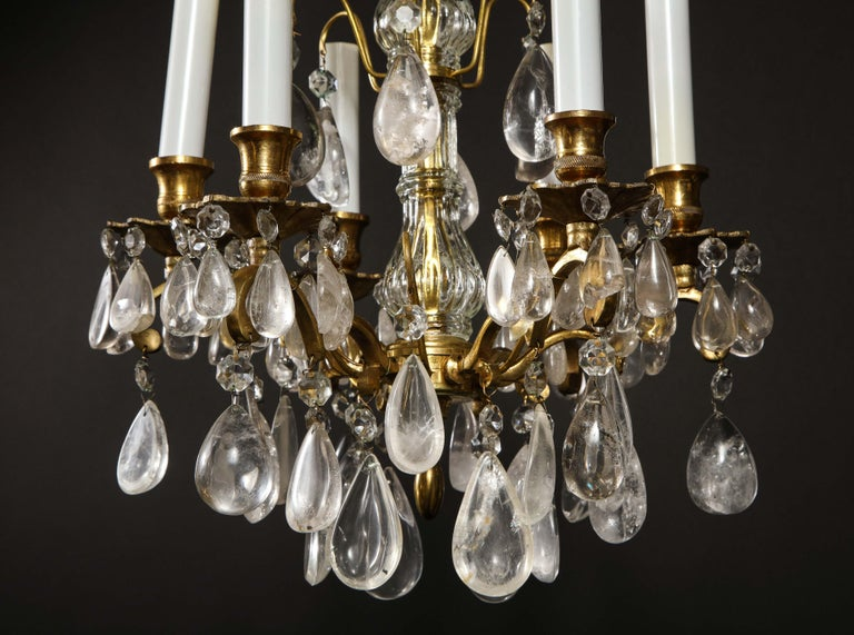20th Century Pair of Fine Continental Louis XVI Style Rock Crystal Chandeliers For Sale