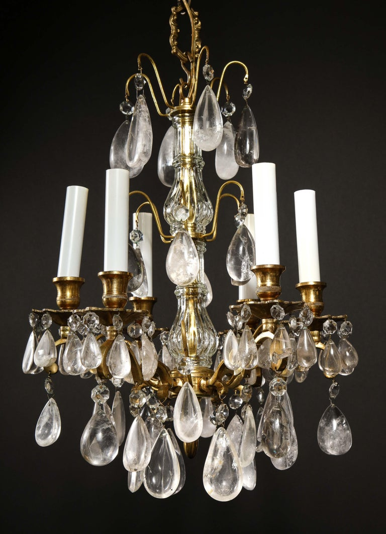 Bronze Pair of Fine Continental Louis XVI Style Rock Crystal Chandeliers For Sale