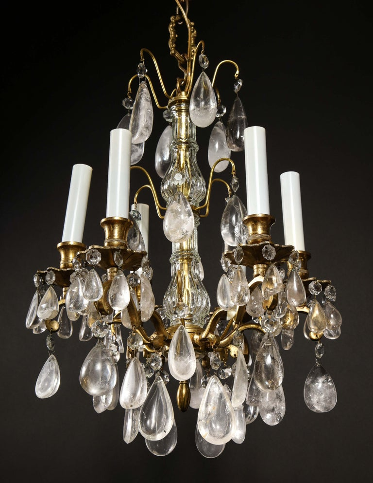 Pair of Fine Continental Louis XVI Style Rock Crystal Chandeliers For Sale 1