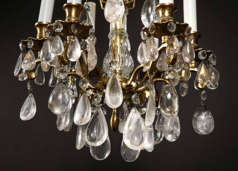 Pair of Fine Continental Louis XVI Style Rock Crystal Chandeliers For Sale 2