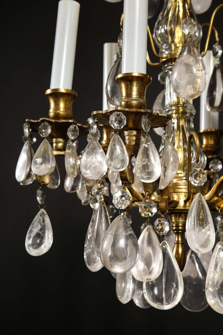 Pair of Fine Continental Louis XVI Style Rock Crystal Chandeliers For Sale 3