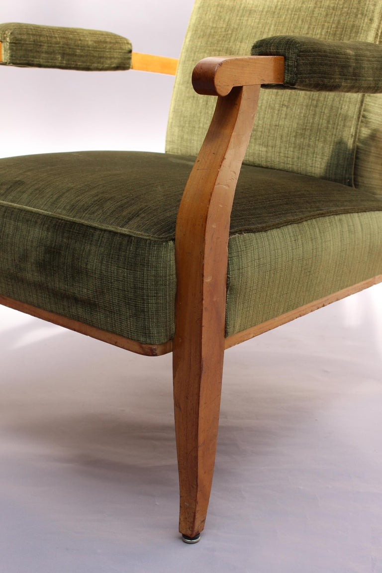 Pair of Fine French Art Deco Cherry Armchairs by Jules Leleu For Sale 6
