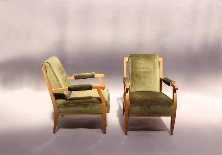 Pair of Fine French Art Deco Cherry Armchairs by Jules Leleu In Good Condition For Sale In Long Island City, NY