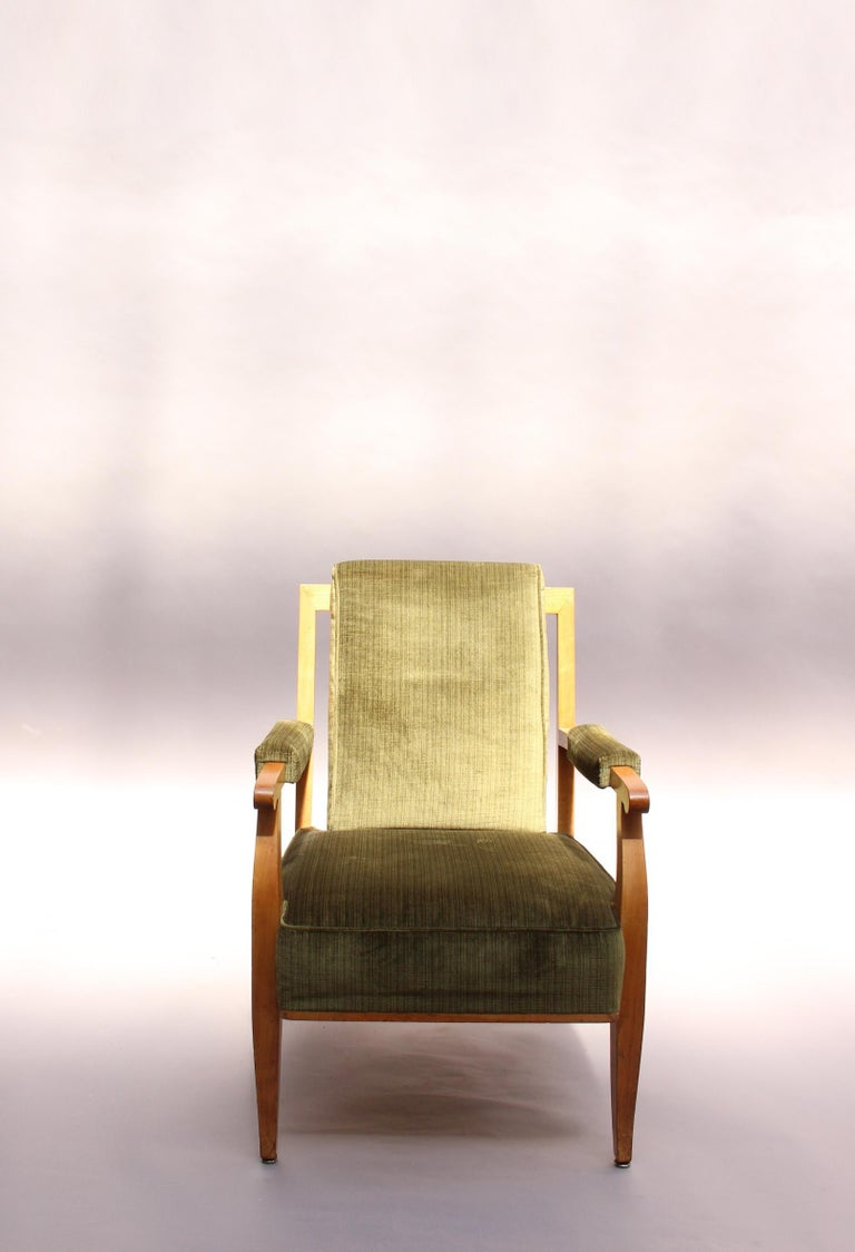 Mid-20th Century Pair of Fine French Art Deco Cherry Armchairs by Jules Leleu For Sale
