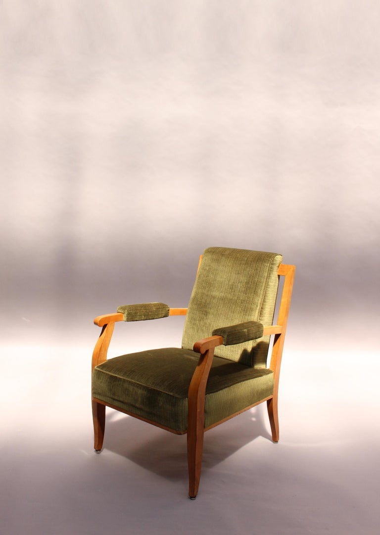 Pair of Fine French Art Deco Cherry Armchairs by Jules Leleu For Sale 1