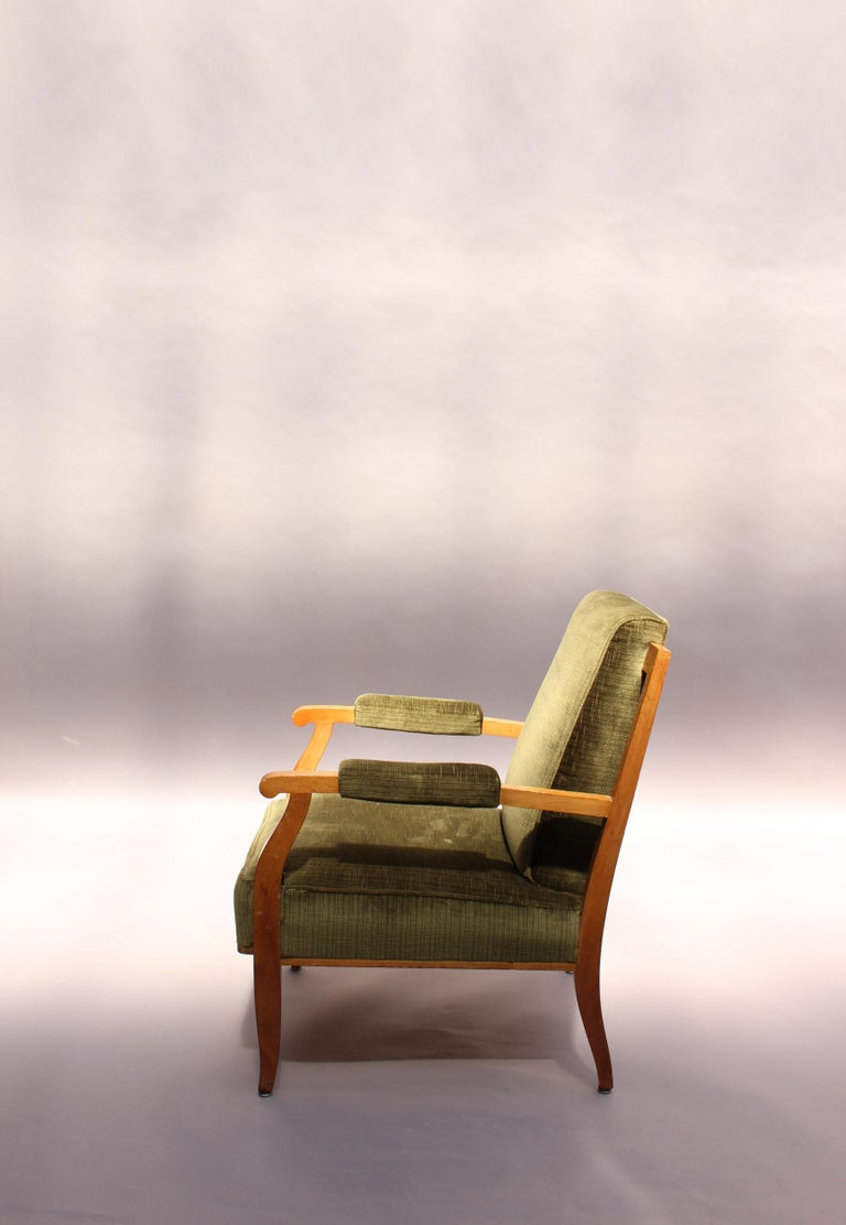 Pair of Fine French Art Deco Cherry Armchairs by Jules Leleu For Sale 2