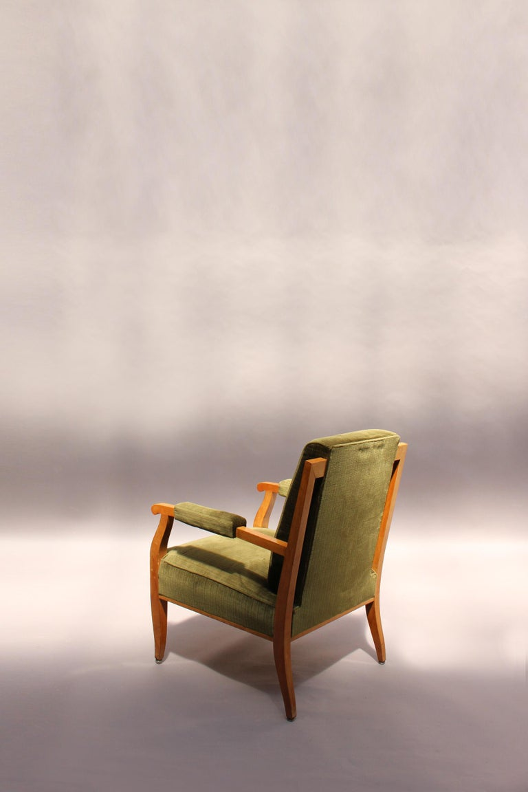 Pair of Fine French Art Deco Cherry Armchairs by Jules Leleu For Sale 3