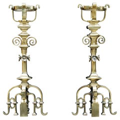 Pair of Fine Quality French Gothic Revival Brass Chenets