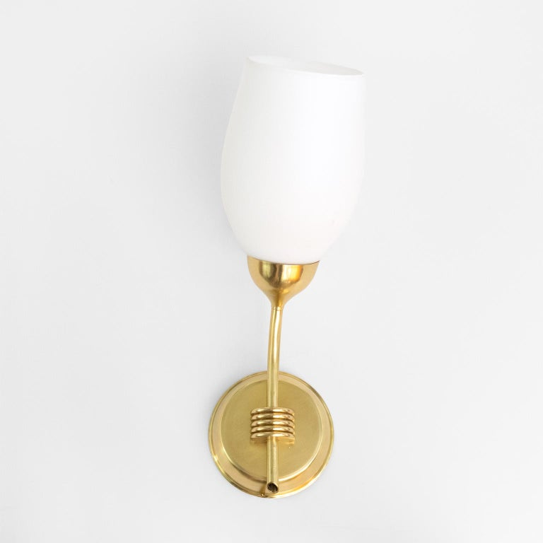Scandinavian Modern Pair of Finnish Mid-Century Modern Polished Brass and Opaline Glass Sconces For Sale