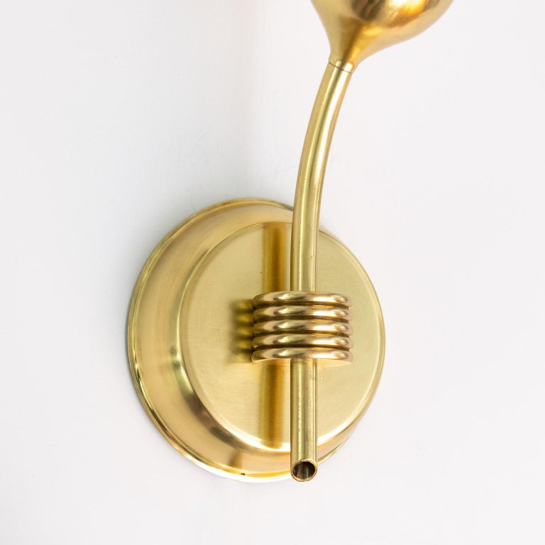 Mid-20th Century Pair of Finnish Mid-Century Modern Polished Brass and Opaline Glass Sconces For Sale