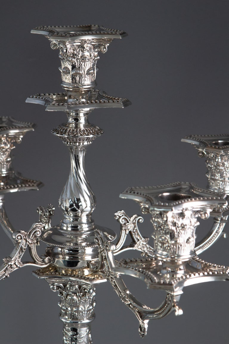 Pair of Five-Light Victorian Silver Candelabra Sheffield, 1894 For Sale 9