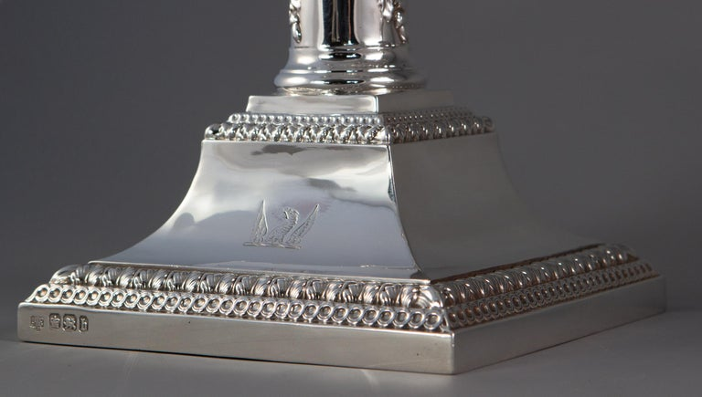 Pair of Five-Light Victorian Silver Candelabra Sheffield, 1894 For Sale 10