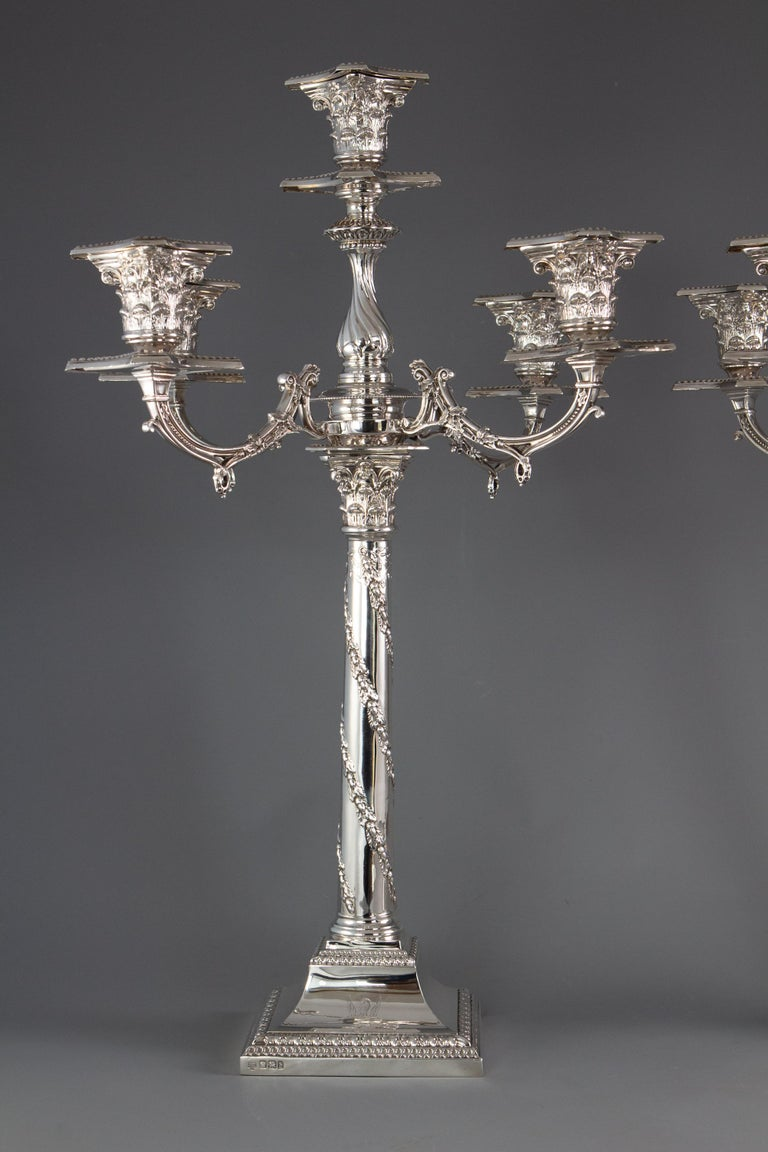 Late 19th Century Pair of Five-Light Victorian Silver Candelabra Sheffield, 1894 For Sale