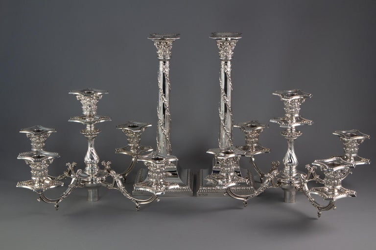 Pair of Five-Light Victorian Silver Candelabra Sheffield, 1894 For Sale 2