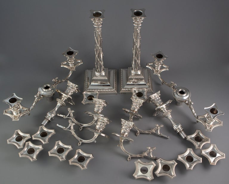 Pair of Five-Light Victorian Silver Candelabra Sheffield, 1894 For Sale 3