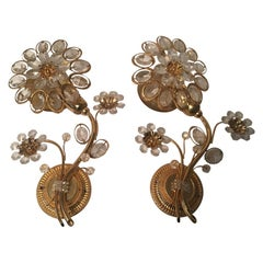 Pair of Flower Form Crystal Sconces by Palwa