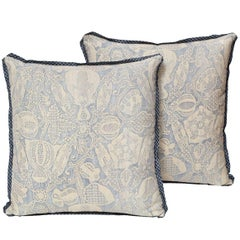 Pair of Fortuny Fabric Cushions in an Incan Inspired Pattern