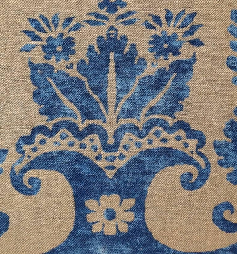 American Pair of Fortuny Fabric Cushions in the Glicine Pattern For Sale