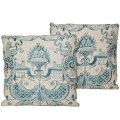 Pair of Fortuny Fabric Cushions in the Mazzarino Pattern